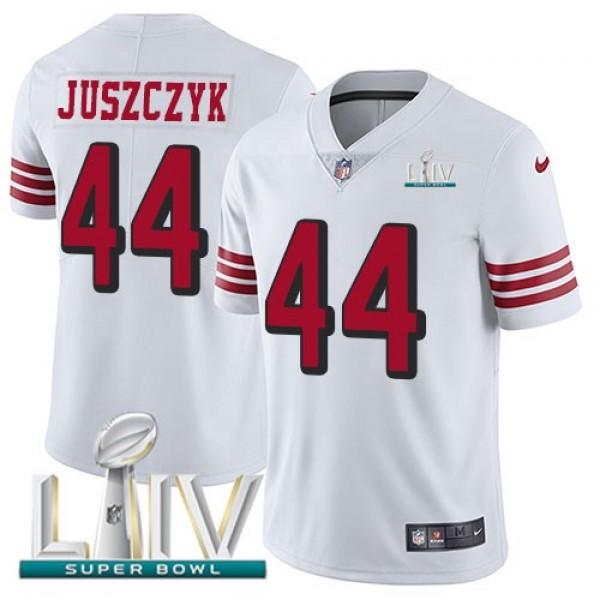 Nike 49ers #44 Kyle Juszczyk White Super Bowl LIV 2020 Rush Men's Stitched NFL Vapor Untouchable Limited Jersey
