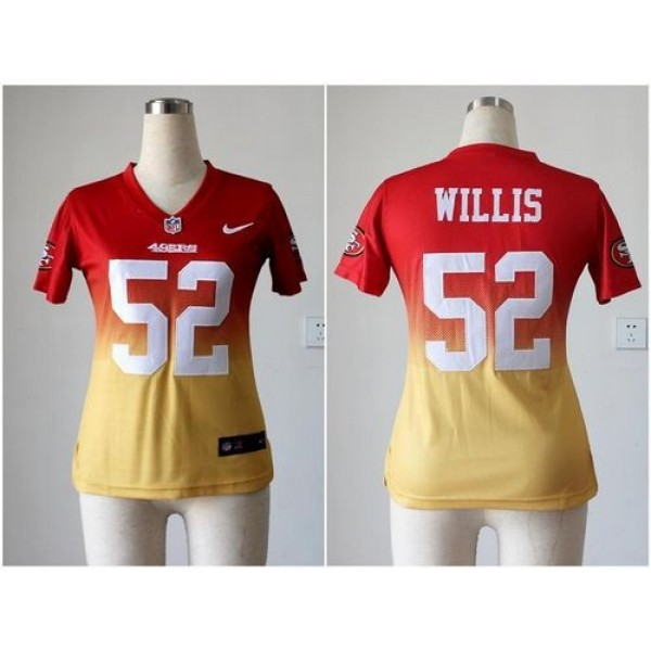 Women's 49ers #52 Patrick Willis Red Gold Stitched NFL Elite Fadeaway Jersey