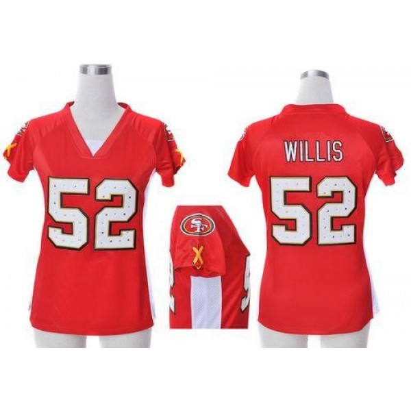 Women's 49ers #52 Patrick Willis Red Team Color Draft Him Name Number Top Stitched NFL Elite Jersey