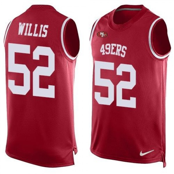 Nike 49ers #52 Patrick Willis Red Team Color Men's Stitched NFL Limited Tank Top Jersey
