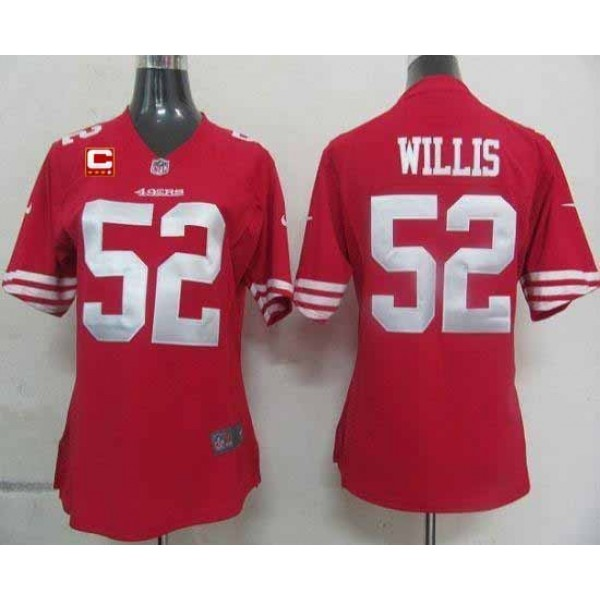 Women's 49ers #52 Patrick Willis Red Team Color With C Patch Stitched NFL Elite Jersey