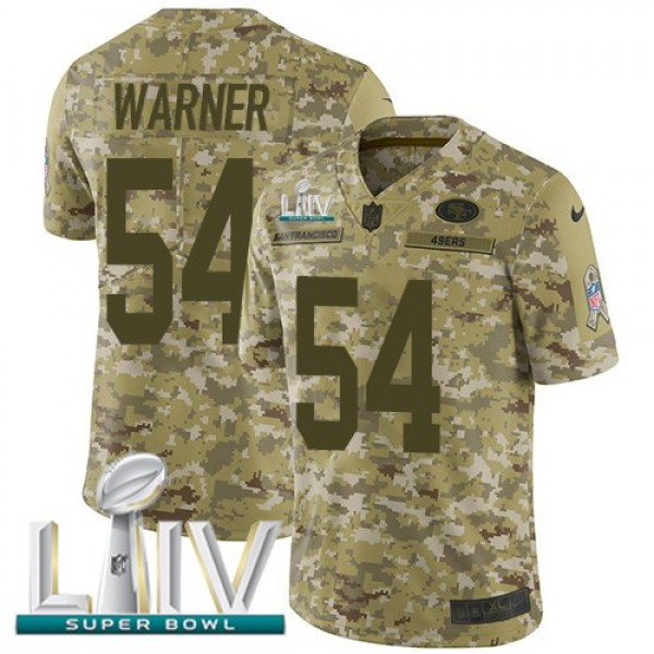 Nike 49ers #54 Fred Warner Camo Super Bowl LIV 2020 Men's Stitched NFL Limited 2018 Salute To Service Jersey