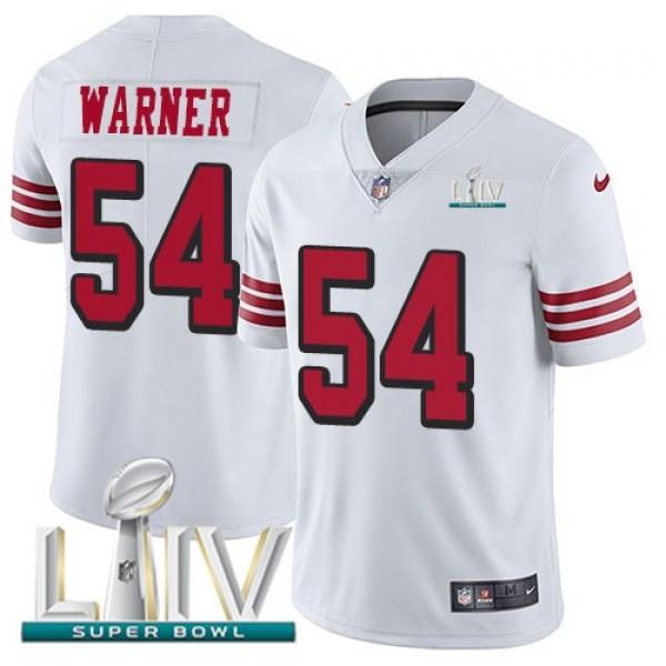 Nike 49ers #54 Fred Warner White Super Bowl LIV 2020 Rush Men's Stitched NFL Vapor Untouchable Limited Jersey