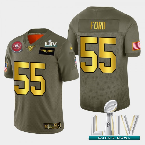 Nike 49ers #55 Dee Ford Men's Olive Gold Super Bowl LIV 2020 2019 Salute to Service NFL 100 Limited Jersey