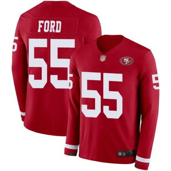 Nike 49ers #55 Dee Ford Red Team Color Men's Stitched NFL Limited Therma Long Sleeve Jersey