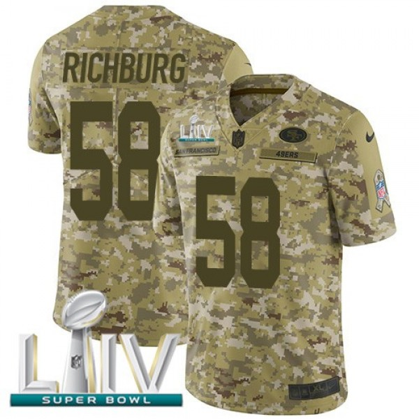 Nike 49ers #58 Weston Richburg Camo Super Bowl LIV 2020 Men's Stitched NFL Limited 2018 Salute To Service Jersey