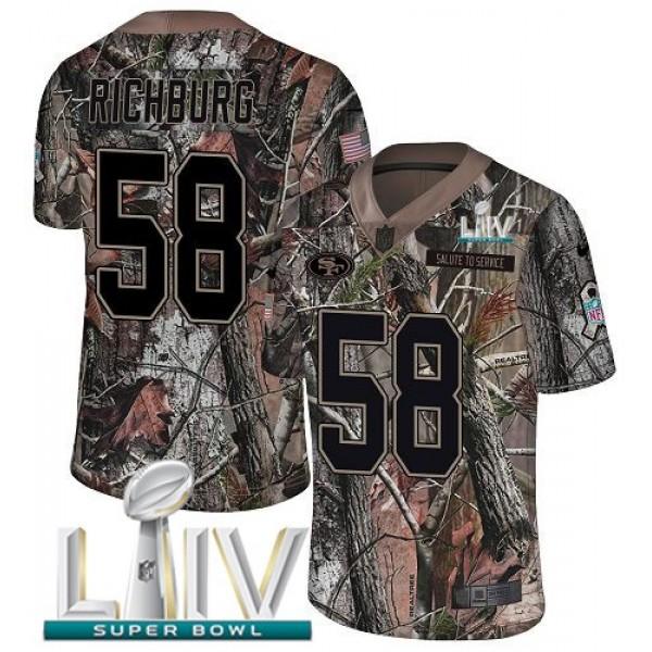 Nike 49ers #58 Weston Richburg Camo Super Bowl LIV 2020 Men's Stitched NFL Limited Rush Realtree Jersey