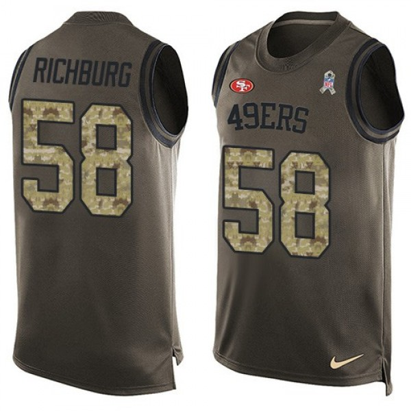 Nike 49ers #58 Weston Richburg Green Men's Stitched NFL Limited Salute To Service Tank Top Jersey