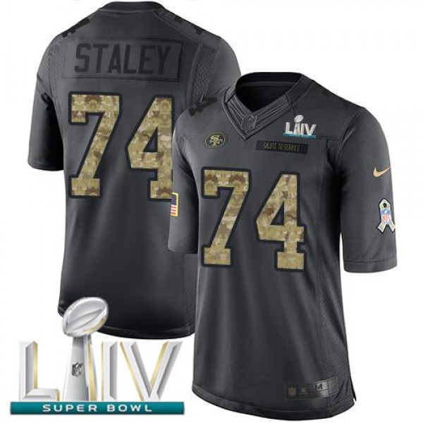 Nike 49ers #74 Joe Staley Black Super Bowl LIV 2020 Men's Stitched NFL Limited 2016 Salute to Service Jersey
