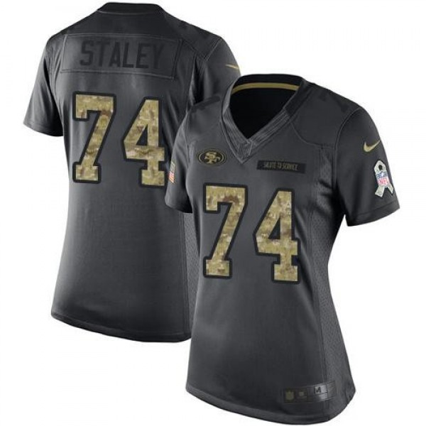 Women's 49ers #74 Joe Staley Black Stitched NFL Limited 2016 Salute to Service Jersey