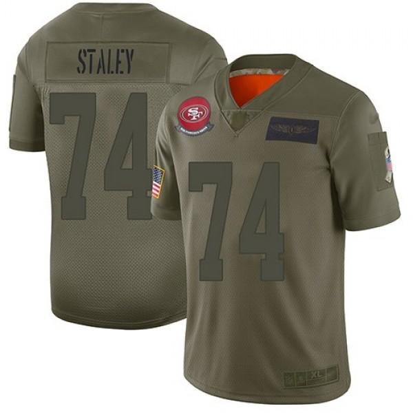 Nike 49ers #74 Joe Staley Camo Men's Stitched NFL Limited 2019 Salute To Service Jersey