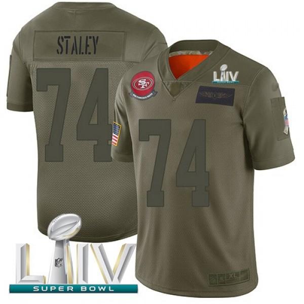 Nike 49ers #74 Joe Staley Camo Super Bowl LIV 2020 Men's Stitched NFL Limited 2019 Salute To Service Jersey