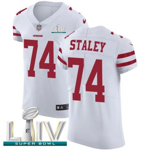 Nike 49ers #74 Joe Staley White Super Bowl LIV 2020 Men's Stitched NFL Vapor Untouchable Elite Jersey