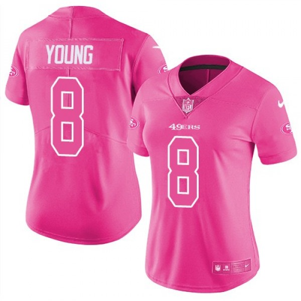 Women's 49ers #8 Steve Young Pink Stitched NFL Limited Rush Jersey