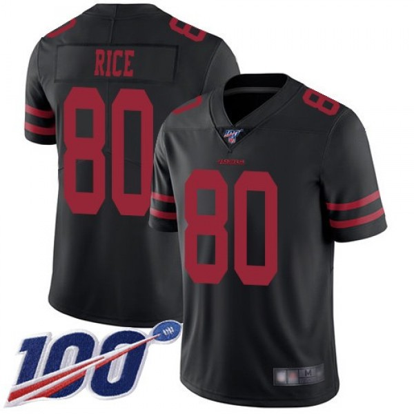 Nike 49ers #80 Jerry Rice Black Alternate Men's Stitched NFL 100th Season Vapor Limited Jersey