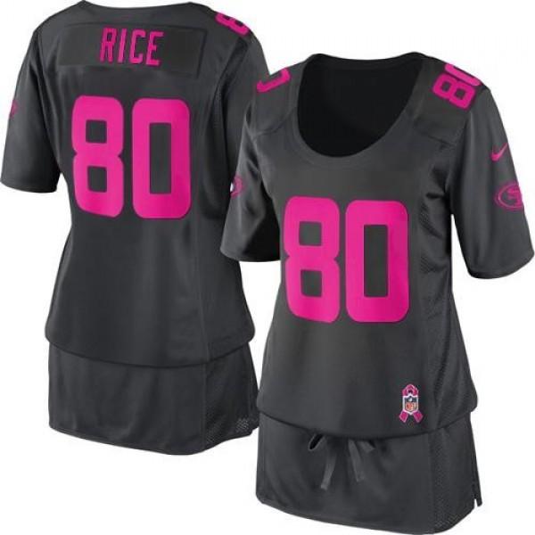 Women's 49ers #80 Jerry Rice Dark Grey Breast Cancer Awareness Stitched NFL Elite Jersey