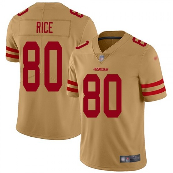Nike 49ers #80 Jerry Rice Gold Men's Stitched NFL Limited Inverted Legend Jersey