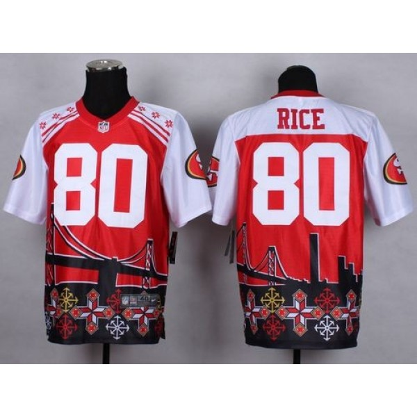 Nike 49ers #80 Jerry Rice Red Men's Stitched NFL Elite Noble Fashion Jersey