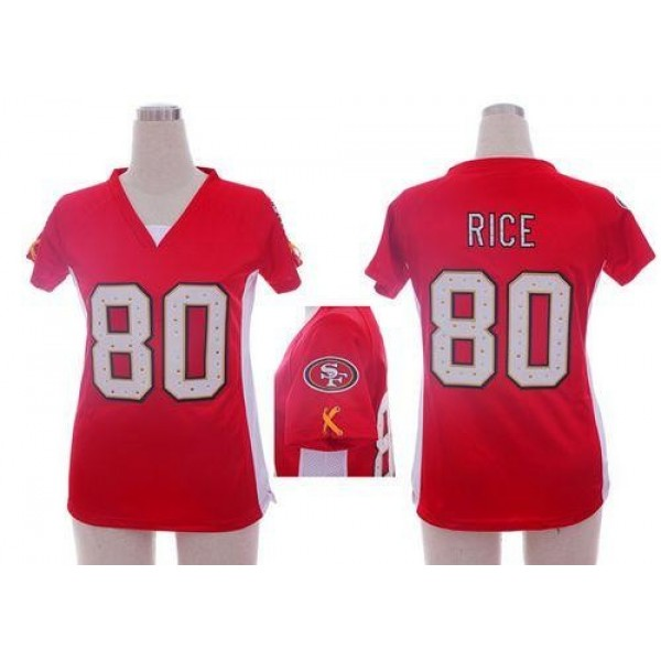 Women's 49ers #80 Jerry Rice Red Team Color Draft Him Name Number Top Stitched NFL Elite Jersey