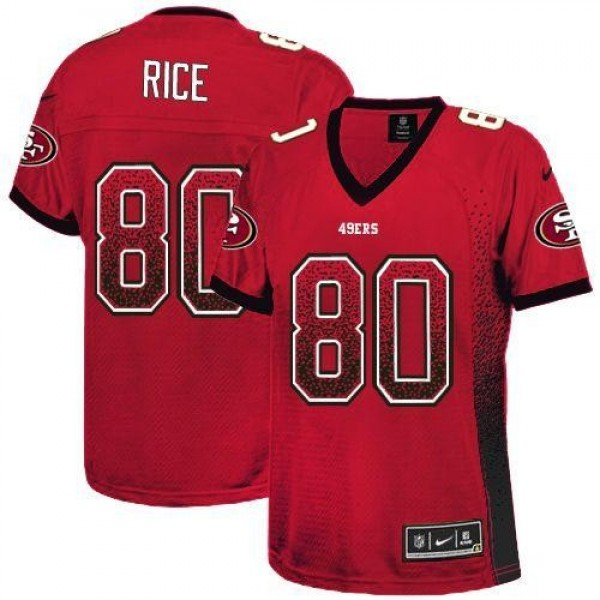 Women's 49ers #80 Jerry Rice Red Team Color Stitched NFL Elite Drift Jersey
