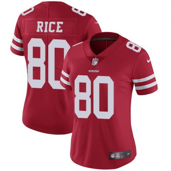 Women's 49ers #80 Jerry Rice Red Team Color Stitched NFL Vapor Untouchable Limited Jersey