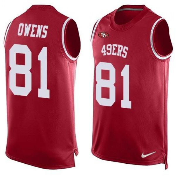 Nike 49ers #81 Terrell Owens Red Team Color Men's Stitched NFL Limited Tank Top Jersey