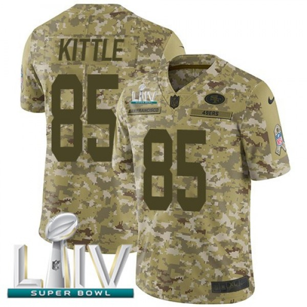 Nike 49ers #85 George Kittle Camo Super Bowl LIV 2020 Men's Stitched NFL Limited 2018 Salute To Service Jersey