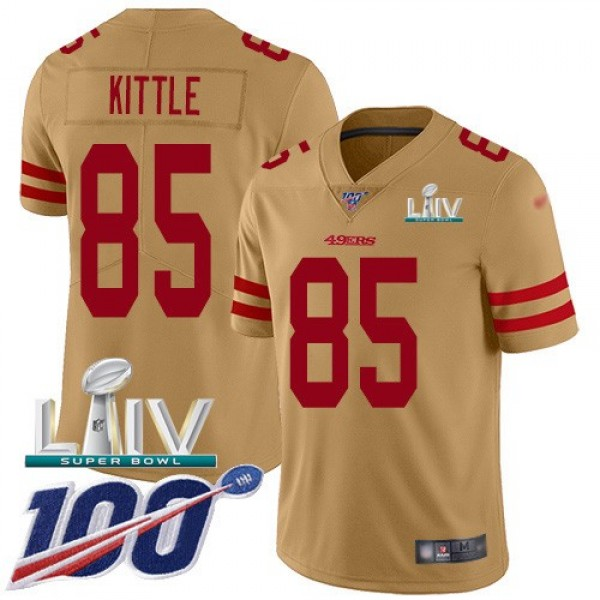 Nike 49ers #85 George Kittle Gold Super Bowl LIV 2020 Men's Stitched NFL Limited Inverted Legend 100th Season Jersey