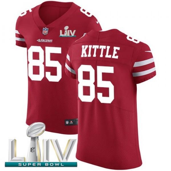 Nike 49ers #85 George Kittle Red Super Bowl LIV 2020 Team Color Men's Stitched NFL Vapor Untouchable Elite Jersey
