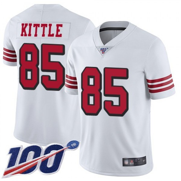 Nike 49ers #85 George Kittle White Rush Men's Stitched NFL Limited 100th Season Jersey