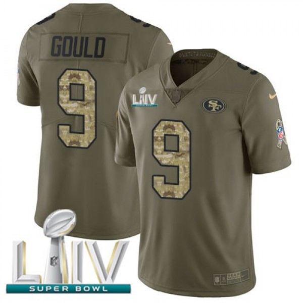 Nike 49ers #9 Robbie Gould Olive/Camo Super Bowl LIV 2020 Men's Stitched NFL Limited 2017 Salute To Service Jersey