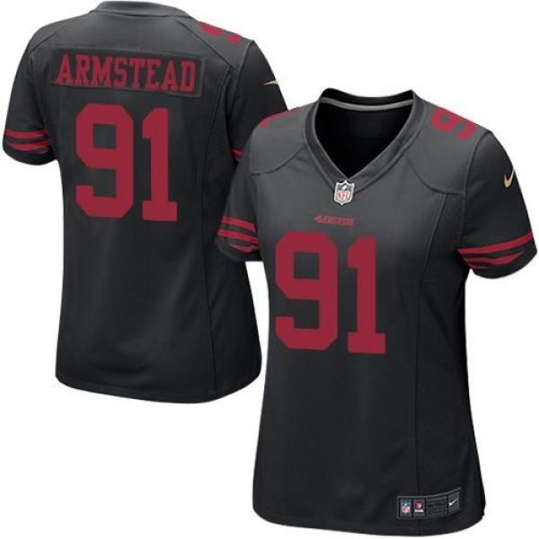 Women's 49ers #91 Arik Armstead Black Alternate Stitched NFL Elite Jersey