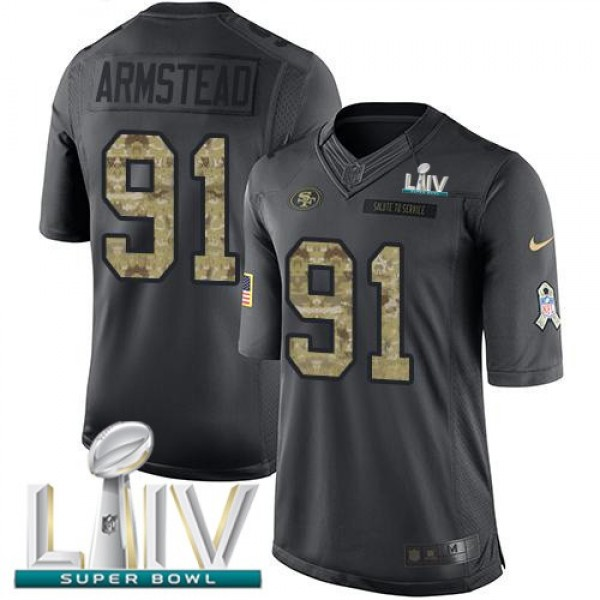 Nike 49ers #91 Arik Armstead Black Super Bowl LIV 2020 Men's Stitched NFL Limited 2016 Salute to Service Jersey
