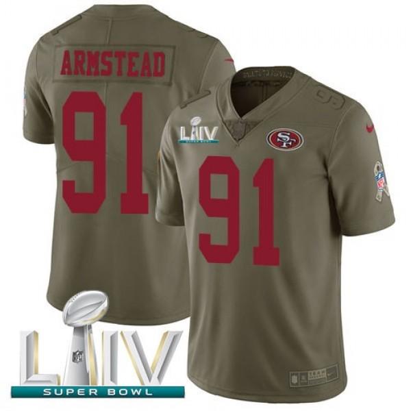 Nike 49ers #91 Arik Armstead Olive Super Bowl LIV 2020 Men's Stitched NFL Limited 2017 Salute To Service Jersey