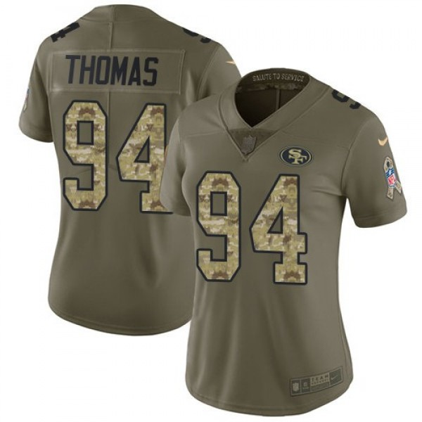 Women's 49ers #94 Solomon Thomas Olive Camo Stitched NFL Limited 2017 Salute to Service Jersey