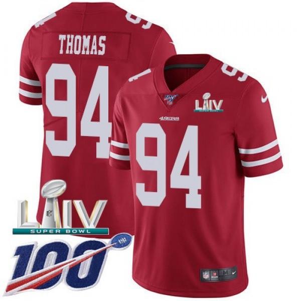 Nike 49ers #94 Solomon Thomas Red Super Bowl LIV 2020 Team Color Men's Stitched NFL 100th Season Vapor Limited Jersey
