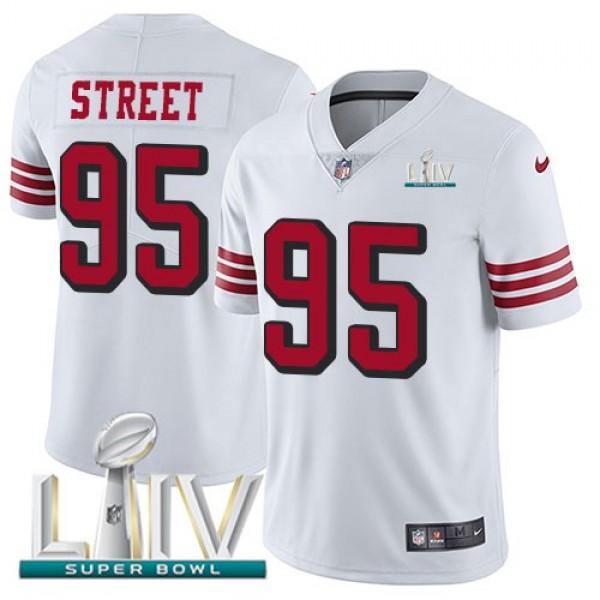 Nike 49ers #95 Kentavius Street White Super Bowl LIV 2020 Rush Men's Stitched NFL Vapor Untouchable Limited Jersey