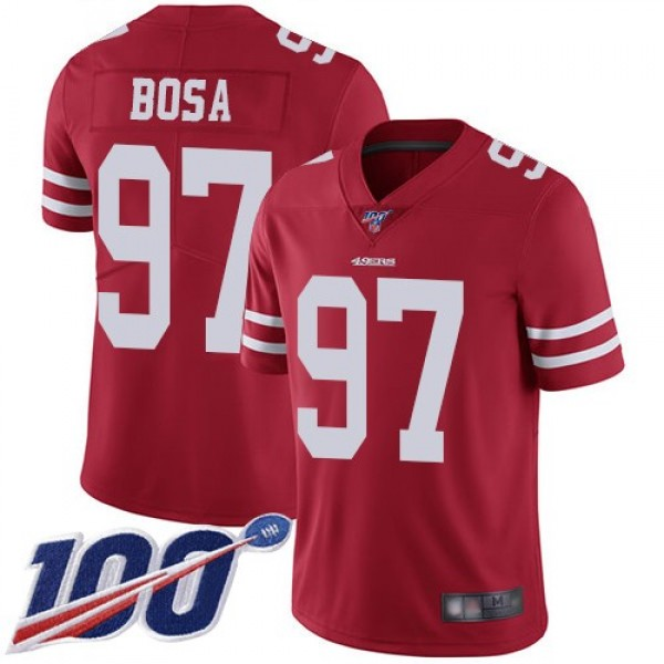 Nike 49ers #97 Nick Bosa Red Team Color Men's Stitched NFL 100th Season Vapor Limited Jersey