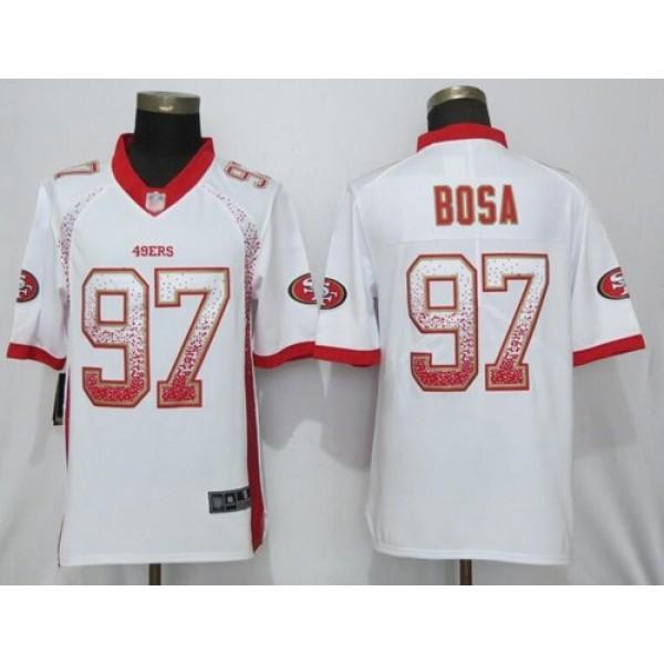 Nike 49ers #97 Nick Bosa White Men's Stitched NFL Limited Rush Drift Fashion Jersey