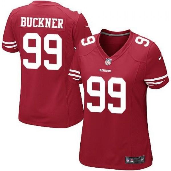 Women's 49ers #99 DeForest Buckner Red Team Color Stitched NFL Elite Jersey