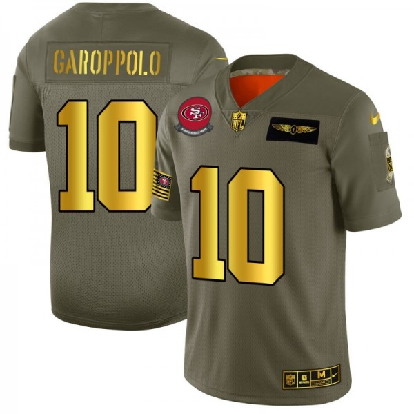 San Francisco 49ers #10 Jimmy Garoppolo NFL Men's Nike Olive Gold 2019 Salute to Service Limited Jersey