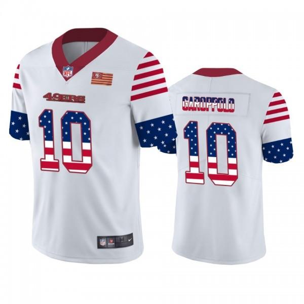 San Francisco 49ers #10 Jimmy Garoppolo White Men's Nike Team Logo USA Flag Vapor Untouchable Limited NFL Jersey