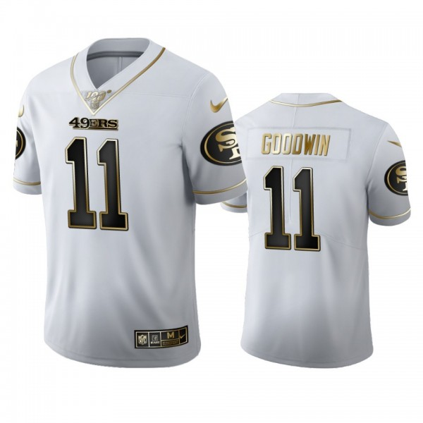 San Francisco 49ers #11 Marquise Goodwin Men's Nike White Golden Edition Vapor Limited NFL 100 Jersey
