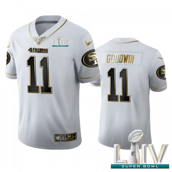 San Francisco 49ers #11 Marquise Goodwin Men's Nike White Golden Super Bowl LIV 2020 Edition Vapor Limited NFL 100 Jersey