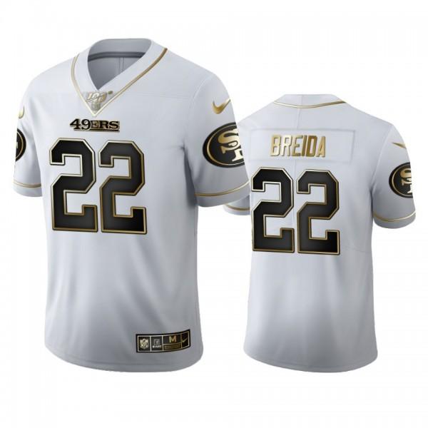 San Francisco 49ers #22 Matt Breida Men's Nike White Golden Edition Vapor Limited NFL 100 Jersey