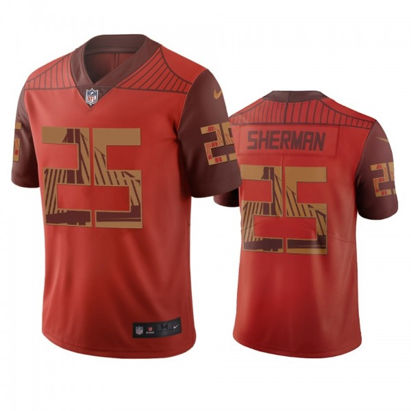San Francisco 49ers #25 Richard Sherman Orange Vapor Limited City Edition NFL Jersey