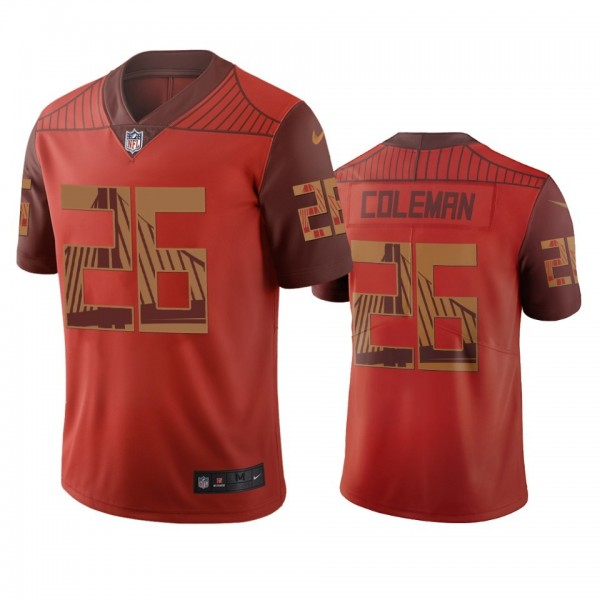 San Francisco 49ers #26 Tevin Coleman Orange Vapor Limited City Edition NFL Jersey