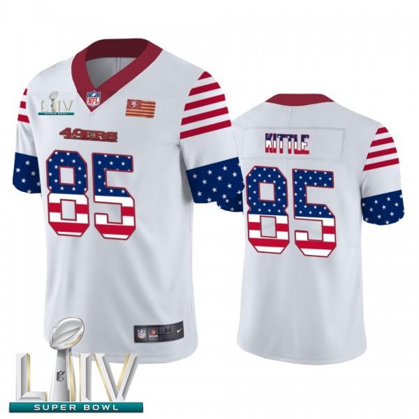 San Francisco 49ers #85 George Kittle White Super Bowl LIV 2020 Men's Nike Team Logo USA Flag Vapor Untouchable Limited NFL Jersey