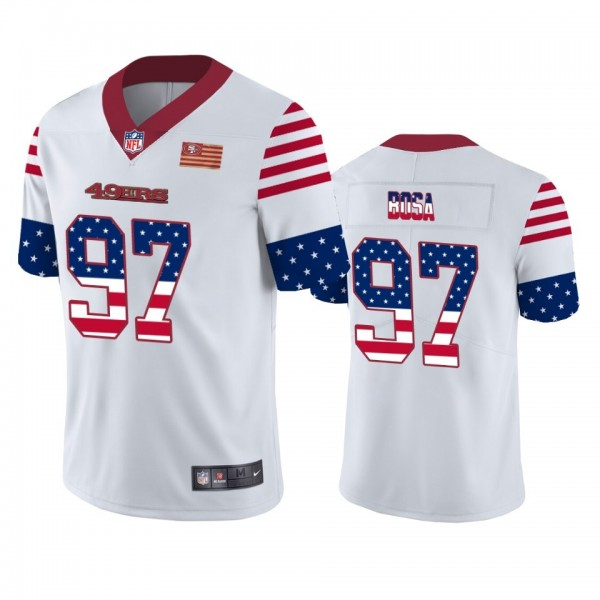 San Francisco 49ers #97 Nick Bosa White Men's Nike Team Logo USA Flag Vapor Untouchable Limited NFL Jersey
