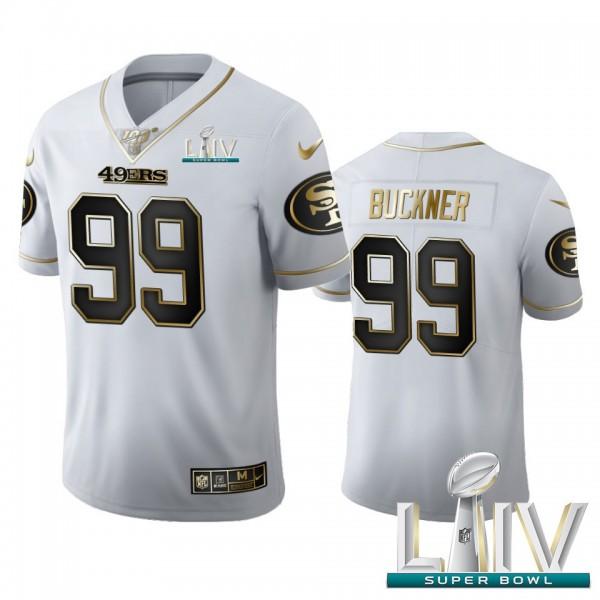 San Francisco 49ers #99 DeForest Buckner Men's Nike White Golden Super Bowl LIV 2020 Edition Vapor Limited NFL 100 Jersey